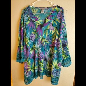 Catherines 2X Paisley Floral Ribbed Tunic Blouse